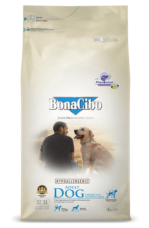 """בונאסיבו מזון לכלב בוגר עוף ואנשובי 15 ק""""ג"""