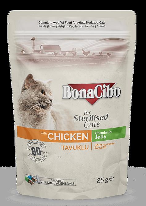 פאוץ בונאסיבו חתול מעוקר בוגר עוף 85 גרם