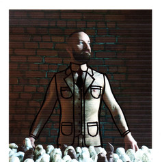 Outline Suit with Brick Wall
