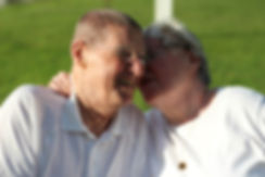 Older couple affectionate