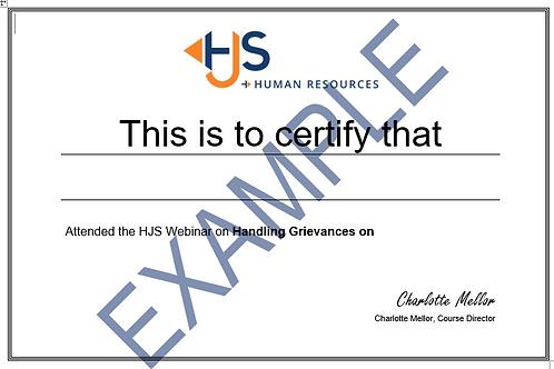 Webinar Certificate of Attendance
