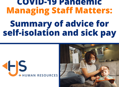 Summary of advice for self-isolation and sick pay