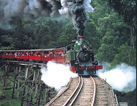 Puffing Billy not far from our cherry orchard