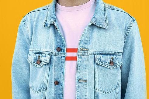 Model in Denim Jacket