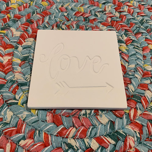 """Love"" tile or coaster pottery"