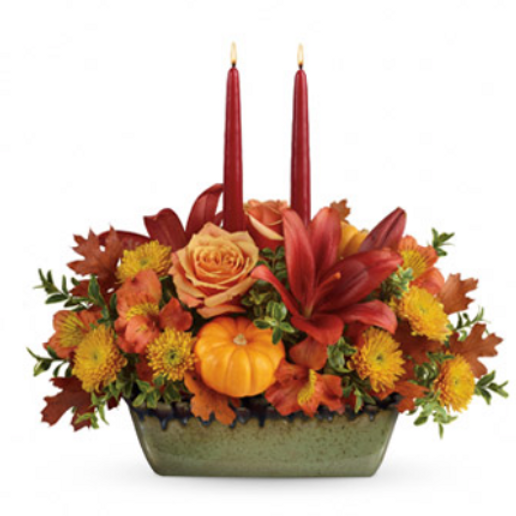 Autumn Candle Floral Centerpiece