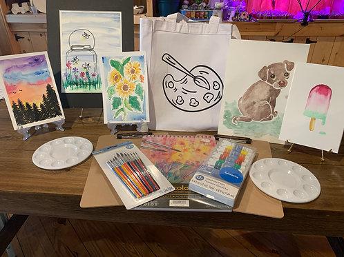 Watercolor Tote & Supplies