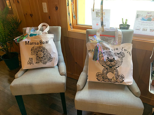 Large Personalized Coloring Tote with 6 DIY Activities