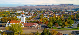 Aerial view of the Boise Skyline and tra
