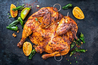 Spatchcocked barbecue chicken al mattone