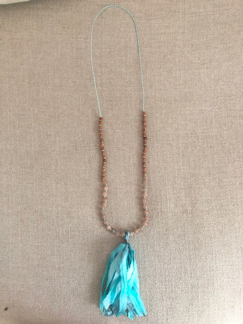 Necklace with Sunstone & Rosewood with Silk Tassel