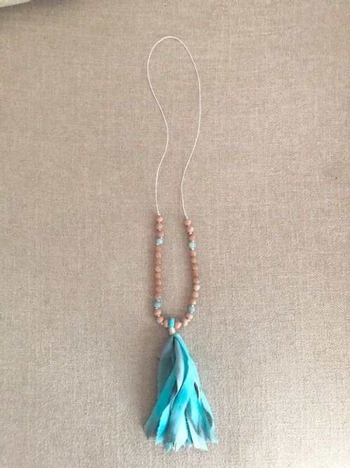 Necklace with Amazonite, Sunstone, Bayong Wood, and Silk Tassel