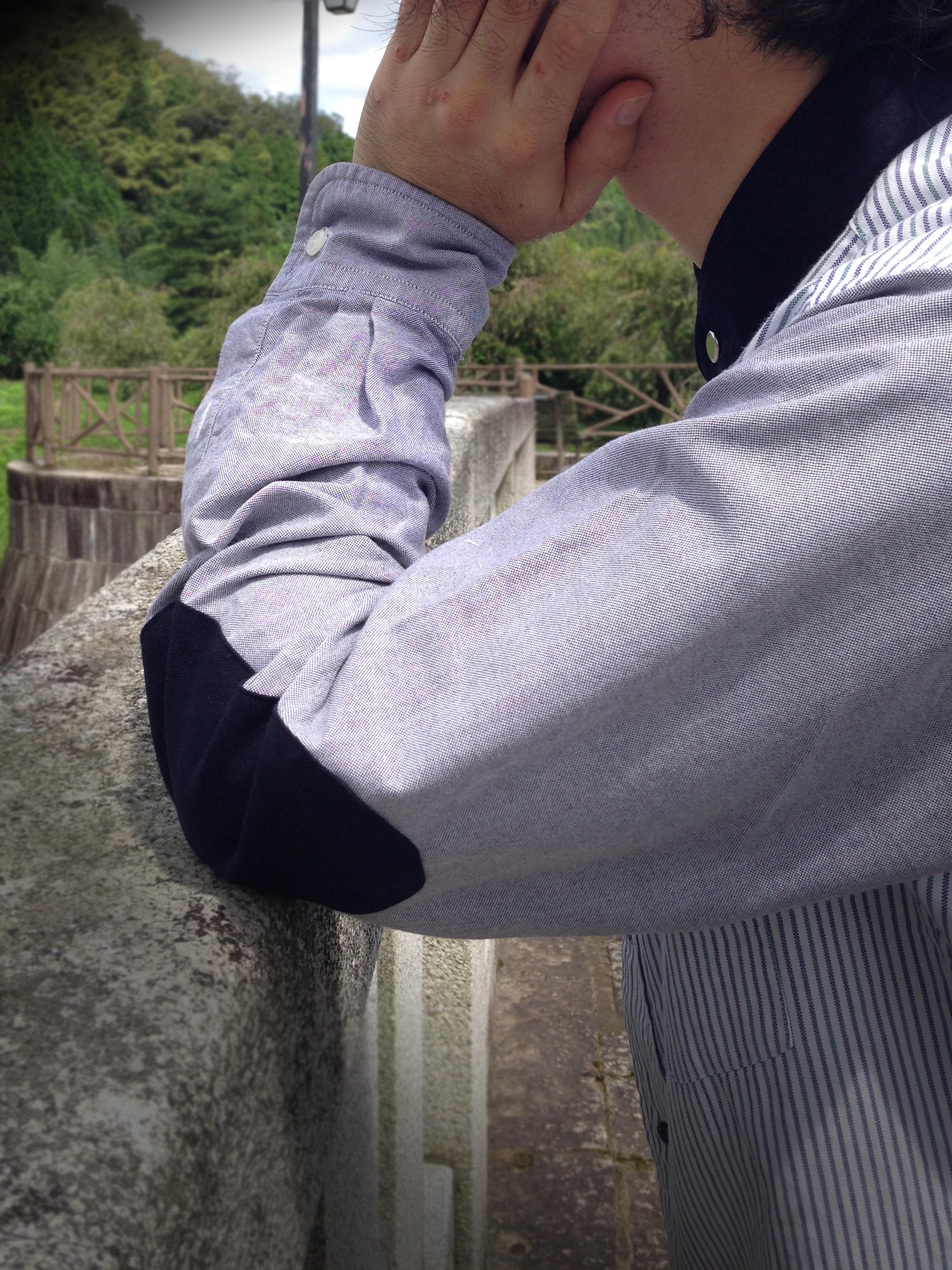 no collar elbow patch oxford shirt