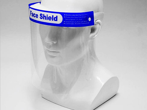 Face shield with blue forehead band (PET)