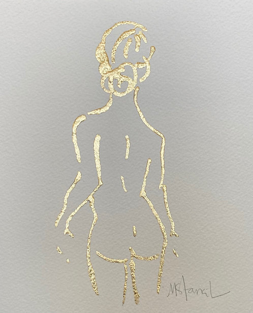 """8 x 10"""" Gold Leaf Figure on Paper - Standing"""