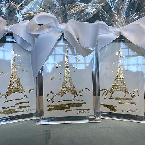 Gold Leaf Eiffel Tower in Lucite