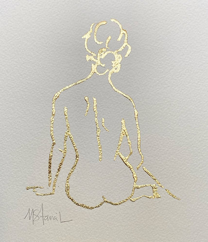 "8 x 10"" Gold Leaf Figure on Paper - Seated"