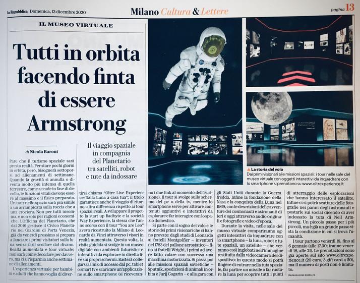 Nel primo museo a gravità zero, tutti in orbita facendo finta di essere Armstrong