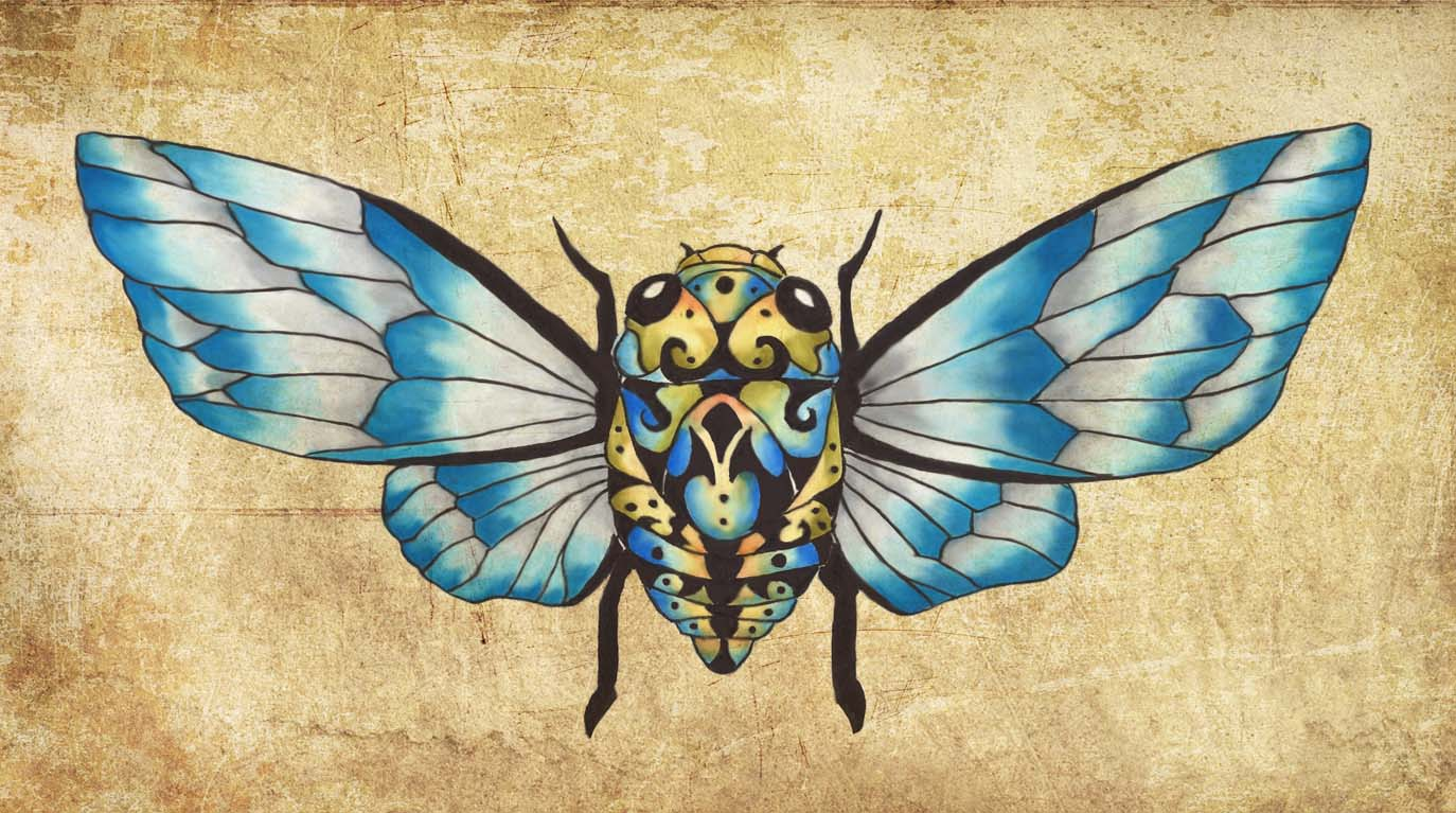 Cicada Dream Blue Glass