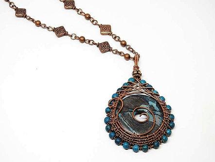 Blue Sky Jasper Pendant in Copper