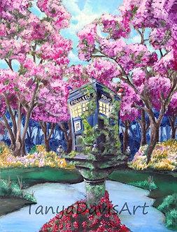 Garden Tardis Acrylic Painting
