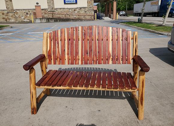 Cedar Rustic Log Bench