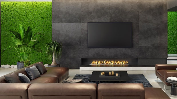 A picture of a stunning living room moss wall decorated in reindeer moss