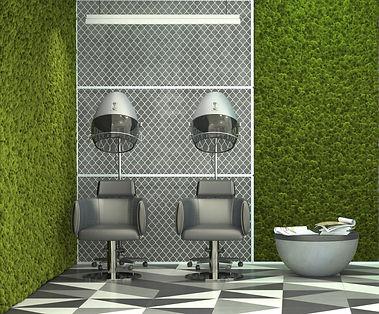 Reindeer Moss Wall inside a Hair salon
