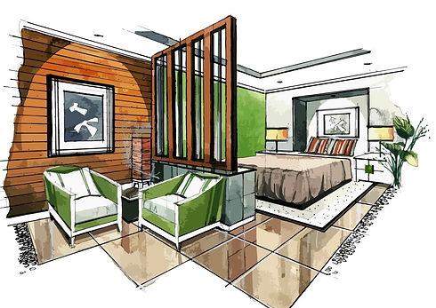 Interior sketch of a bedroom green moss