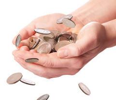 Money donations in hand
