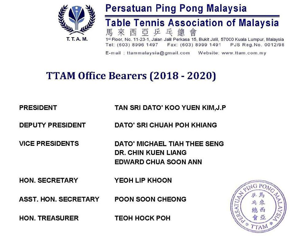 TTAM Office Bearers 2018 - 2020