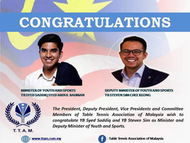 Congratulation to The Sports Minister