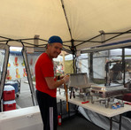 Brian prepping the red hots