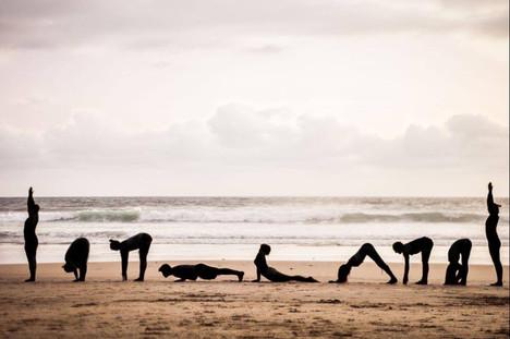 Suryanamaskar on the Beach