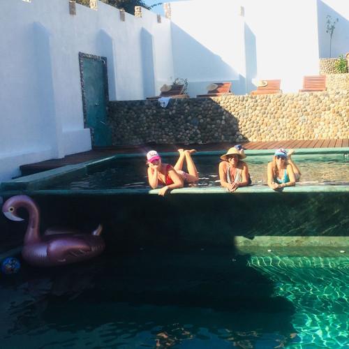 Mermaids in the cascade pool at Casa de Olas