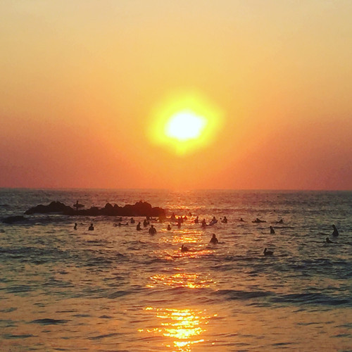 Sunset surf sessions at La Punta de Zicatela