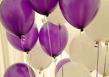 Purple And Whie Baloons In A Bunch