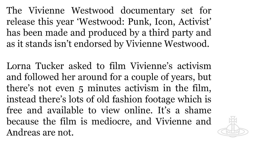 The full statement released by representatives of the Vivienne Westwood label on the 19th January 2018. Image courtesy of Twitter.