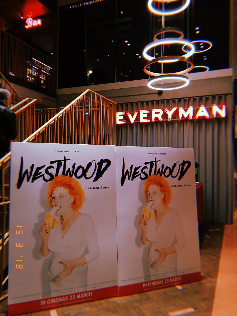 """The promotional poster stands of the """"Westwood: Punk, Icon, Activist"""" documentary inside the Everyman Cinema, Kings Cross"""