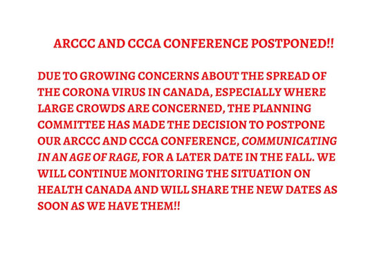 ARCCC and CCCA Conference Postponed!! Du