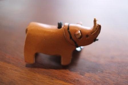 Rhino leather keyring