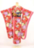 仕立屋甚五郎 衿なし振袖 流水牡丹 赤色 一人で簡単に着れる 安い