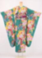 仕立屋甚五郎 衿なし振袖 藤飛蝶 緑 おはしょりがないからスタイルアップ効果抜群