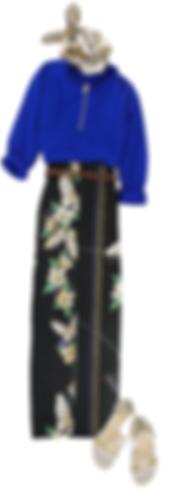 和柄巻きスカート さくら蝶 黒 入荷待ち