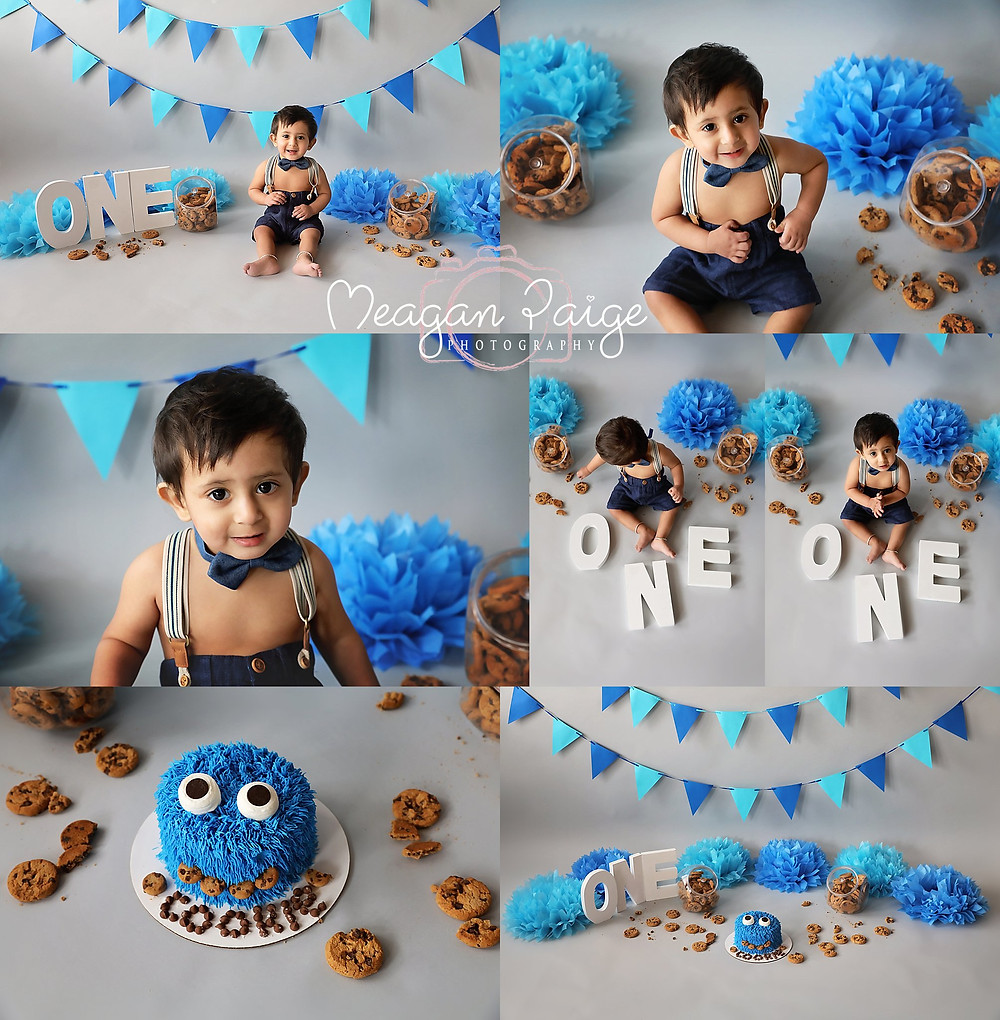 Cookie Monster Cake Smash Photography