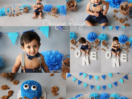 Cookie Monster Cake Smash - Calgary Family Photographer - Meagan Paige Photography