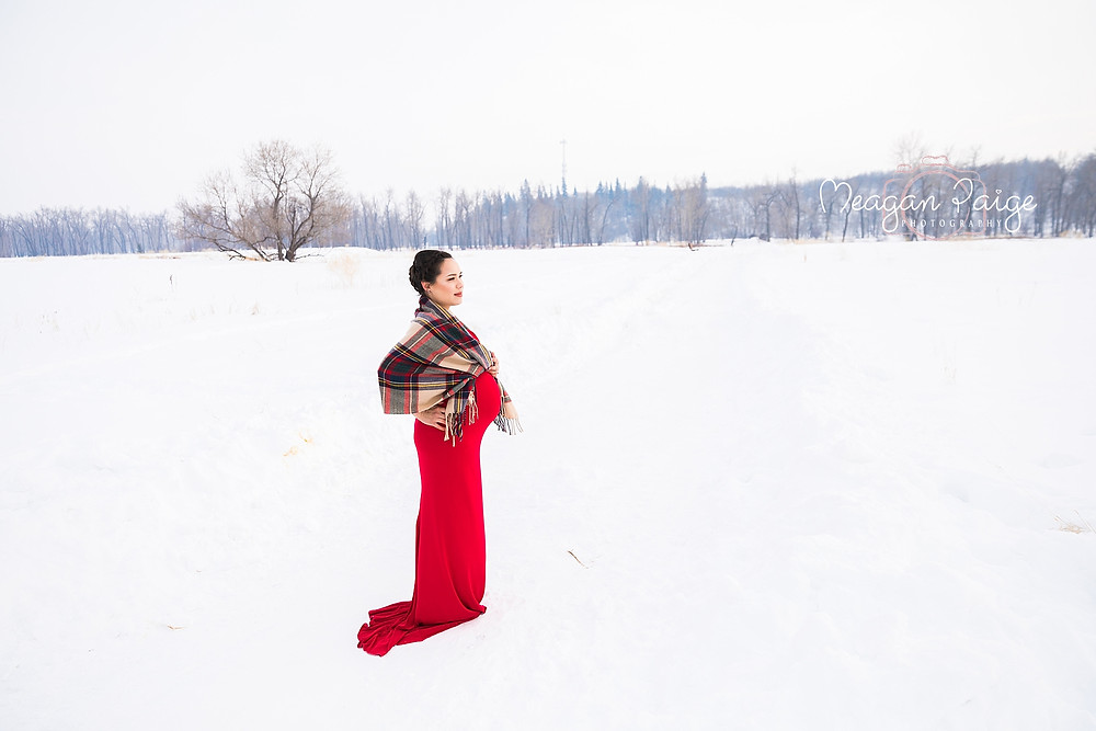 The Lady in Red - Calgary Winter Maternity Session - Meagan Paige Photography