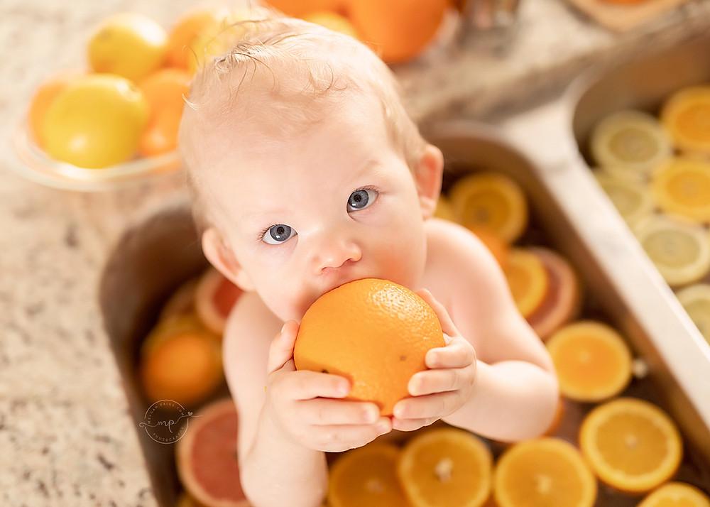 Citrus Fruit Bath - Child Milestone - Meagan Paige Photography - Calgary