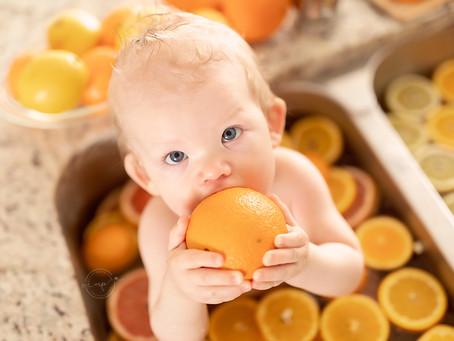 Citrus Bubble Bath - Calgary Child Milestone Session