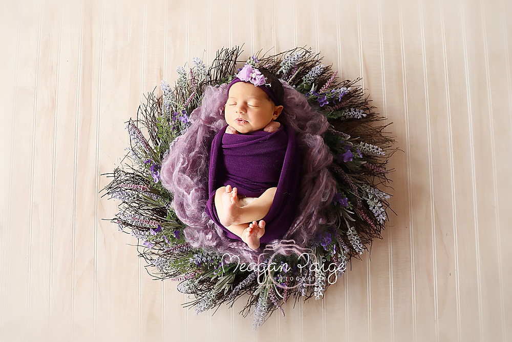 Newborn Girl in Floral Wreath